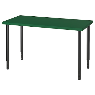 LINNMON / OLOV Table, green/black, 120x60 cm