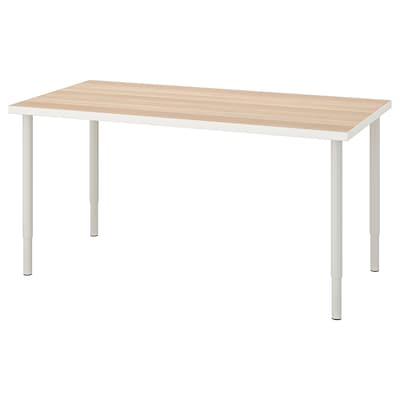 LINNMON / OLOV Table, white white stained oak effect/white, 150x75 cm