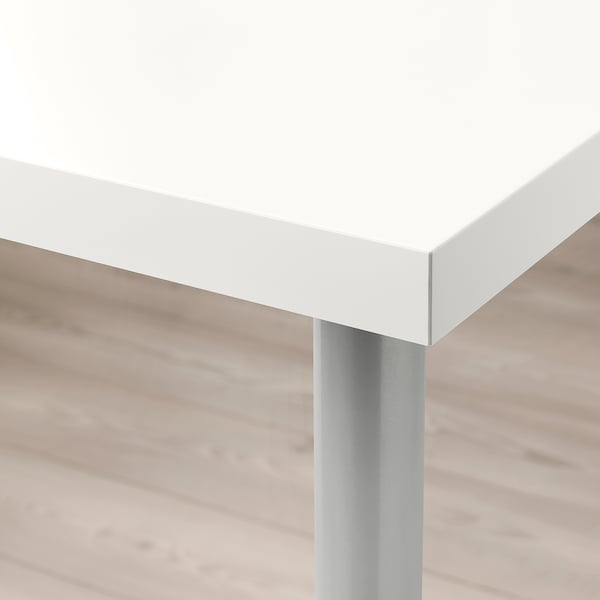 LINNMON / TORSKLINT Table, white/light grey, 150x75 cm