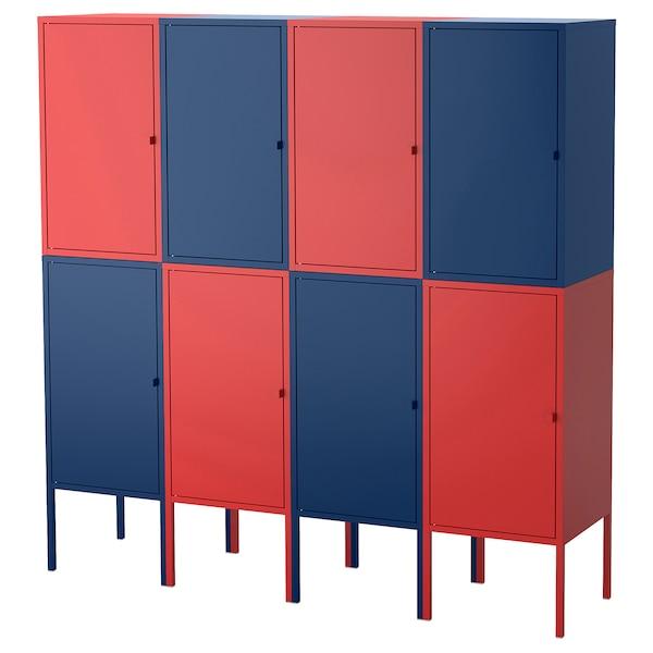 LIXHULT storage combination dark blue/red 120 cm 142 cm 140 cm 35 cm 142 cm 21 cm 12 kg