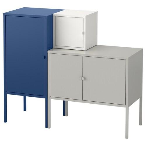 LIXHULT storage combination grey/white/dark blue 60 cm 82 cm 95 cm 35 cm 82 cm 21 cm 12 kg