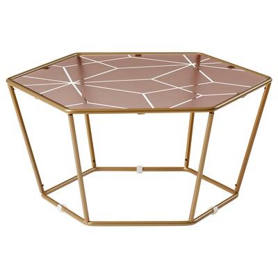 LJUV طاولة قهوة, شكل سداسي/لون ذهبي زهري, 60x52 سم