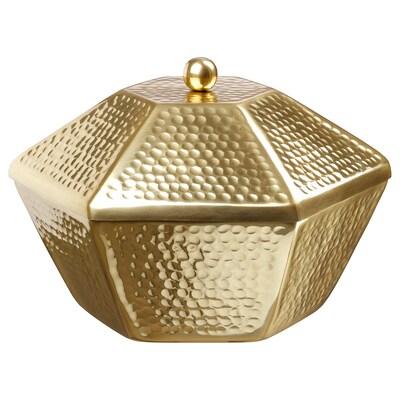 LJUV وعاء تقديم مع غطاء, لون ذهبي, L