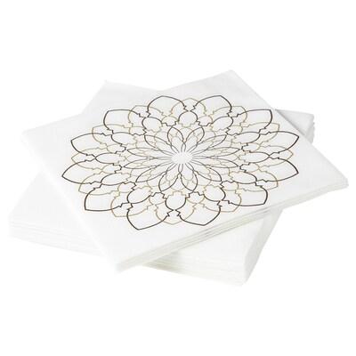 LJUVARE Paper napkin, white/beige, 33x33 cm