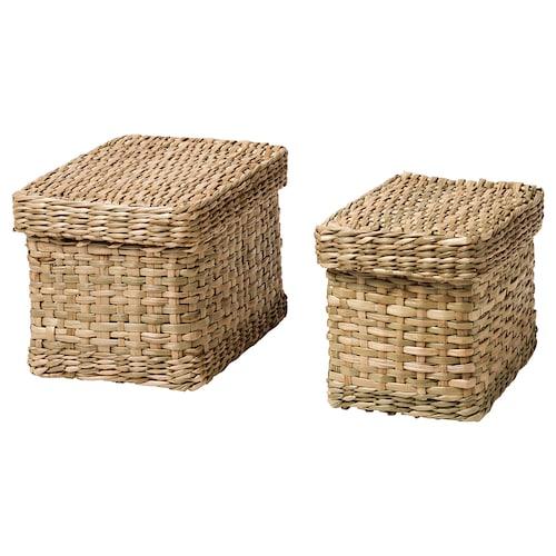 LURPASSA box with lid, set of 2 seagrass