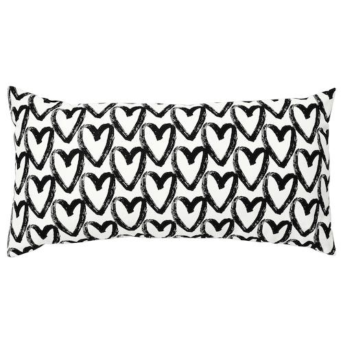 LYKTFIBBLA cushion white/black 30 cm 58 cm 280 g 360 g
