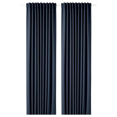 MAJGULL block-out curtains, 1 pair dark blue 300 cm 145 cm 2.50 kg 4.35 m² 2 pack