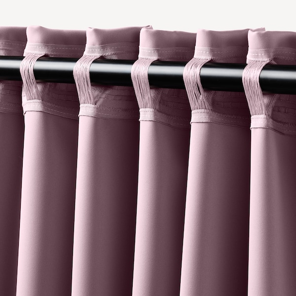 MAJGULL Room darkening curtains, 1 pair, light pink, 145x300 cm
