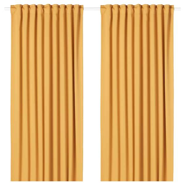 MAJGULL Room darkening curtains, 1 pair, yellow, 145x300 cm