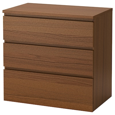 MALM Chest of 3 drawers, brown stained ash veneer, 80x78 cm