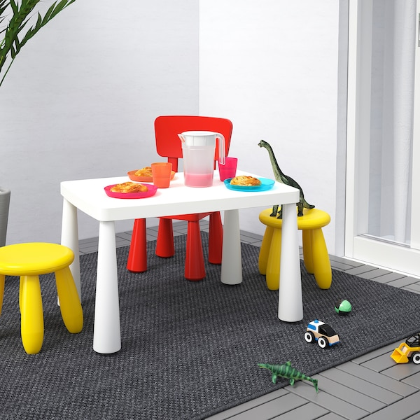 MAMMUT Children's table, in/outdoor white, 77x55 cm