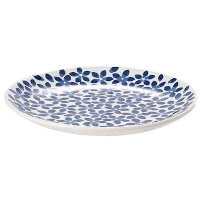 MEDLEM Side plate, white/blue/patterned, 22 cm