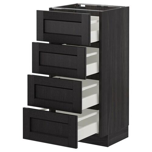 METOD base cab 4 frnts/4 drawers black/Lerhyttan black stained 40.0 cm 39.5 cm 88.0 cm 37.0 cm 80.0 cm