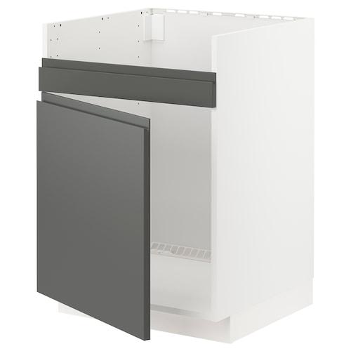 METOD base cab f HAVSEN single bowl sink white/Voxtorp dark grey 60.0 cm 62.1 cm 88.0 cm 60.0 cm 80.0 cm