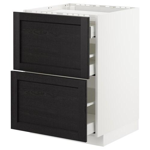 METOD base cab f hob/2 fronts/3 drawers white/Lerhyttan black stained 60.0 cm 61.8 cm 88.0 cm 60.0 cm 80.0 cm
