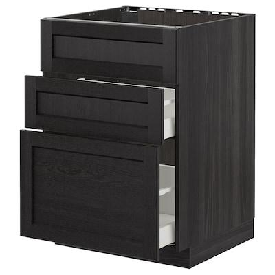METOD Base cab f sink+3 fronts/2 drawers, black/Lerhyttan black stained, 60x60 cm