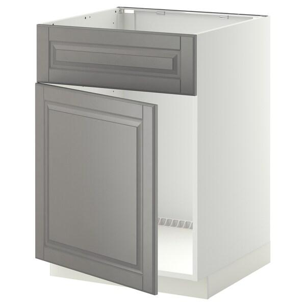 METOD Base cabinet f sink w door/front, white/Bodbyn grey, 60x60 cm