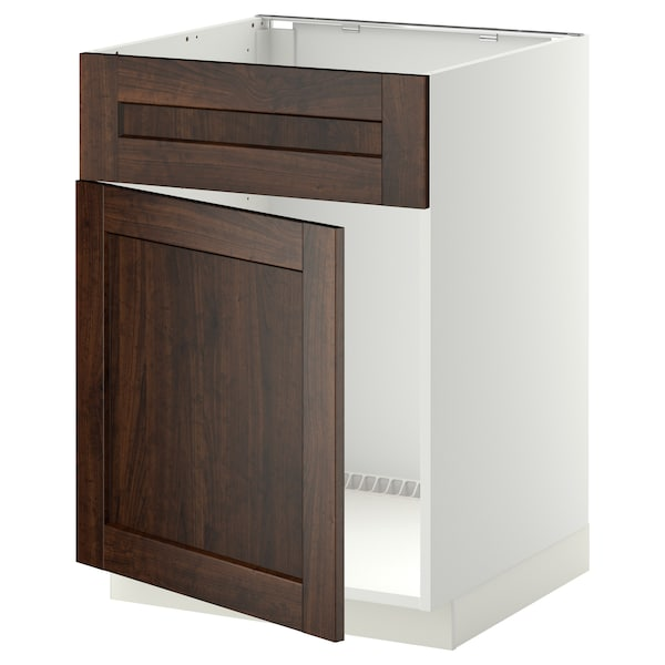 METOD Base cabinet f sink w door/front, white/Edserum brown, 60x60 cm