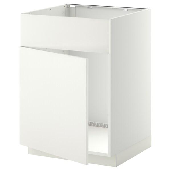 METOD Base cabinet f sink w door/front, white/Häggeby white, 60x60 cm