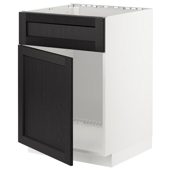 METOD Base cabinet f sink w door/front, white/Lerhyttan black stained, 60x60 cm