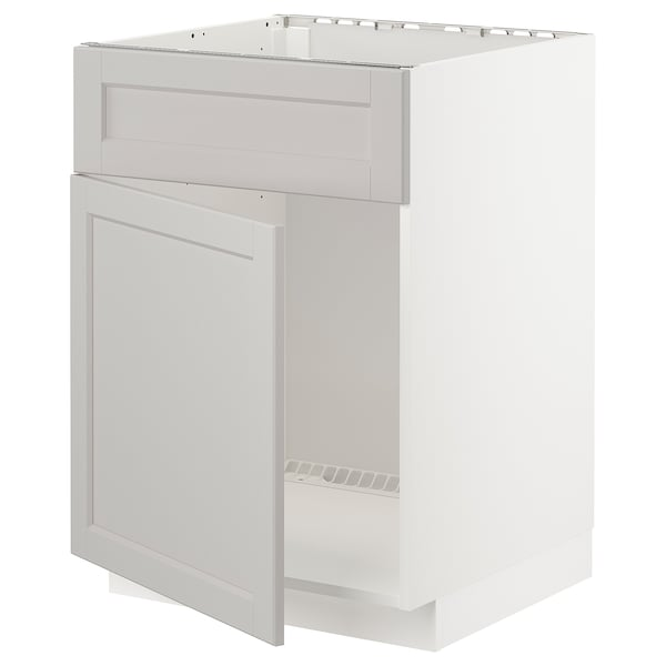 METOD Base cabinet f sink w door/front, white/Lerhyttan light grey, 60x60 cm