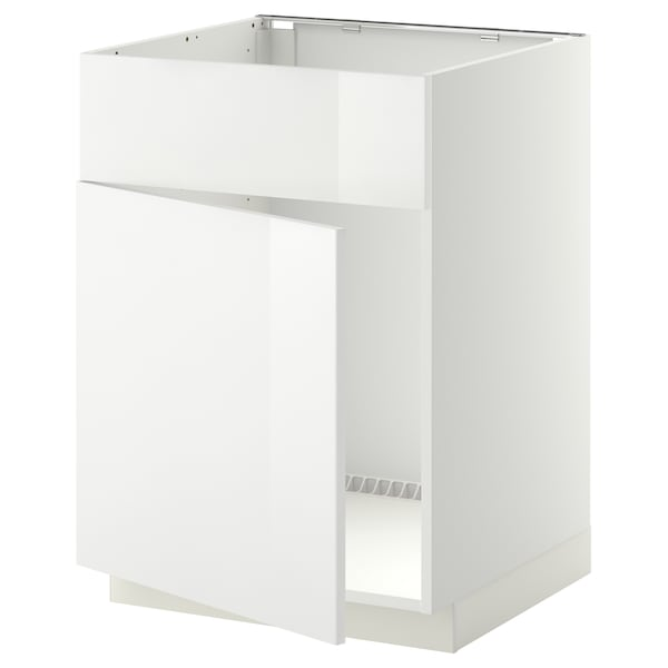 METOD Base cabinet f sink w door/front, white/Ringhult white, 60x60 cm