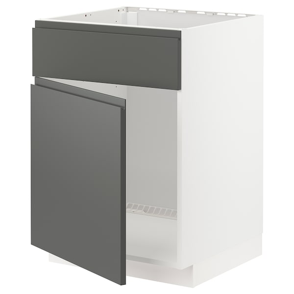 METOD Base cabinet f sink w door/front, white/Voxtorp dark grey, 60x60 cm