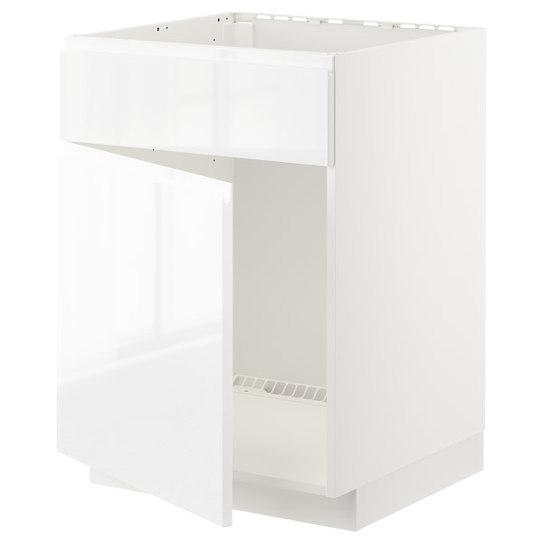 METOD Base cabinet f sink w door/front, white/Voxtorp high-gloss/white, 60x60 cm
