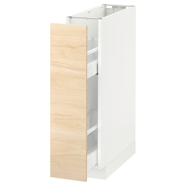 METOD Base cabinet/pull-out int fittings, white/Askersund light ash effect, 20x60 cm
