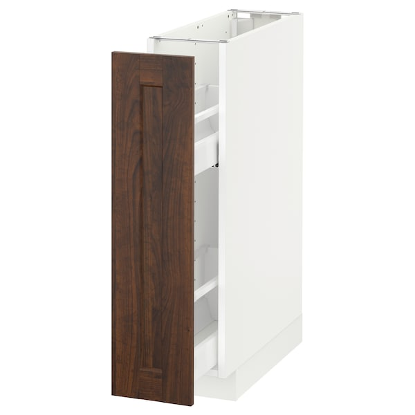 METOD Base cabinet/pull-out int fittings, white/Edserum brown, 20x60 cm