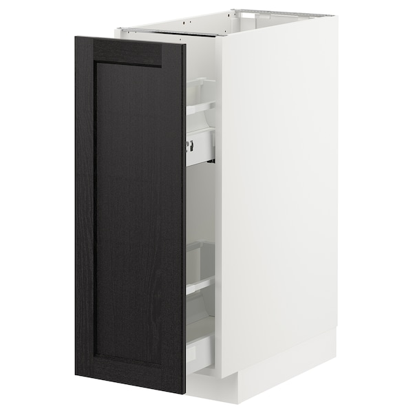METOD Base cabinet/pull-out int fittings, white/Lerhyttan black stained, 30x60 cm