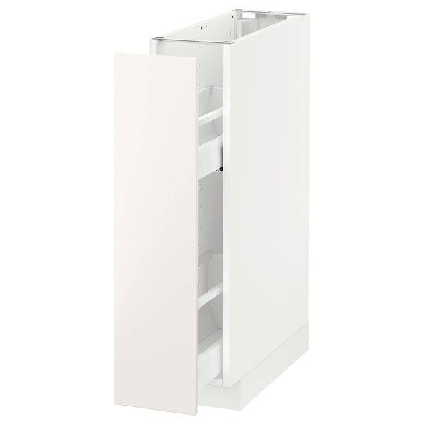 METOD Base cabinet/pull-out int fittings, white/Veddinge white, 20x60 cm