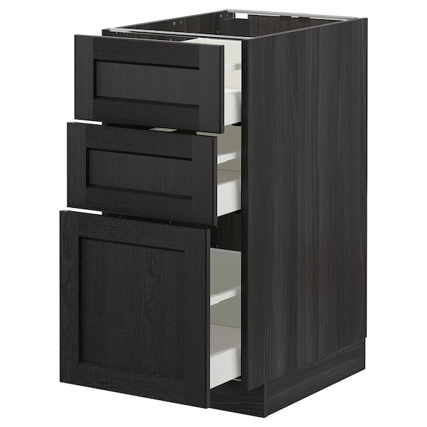 METOD base cabinet with 3 drawers black/Lerhyttan black stained 40.0 cm 61.9 cm 88.0 cm 60.0 cm 80.0 cm