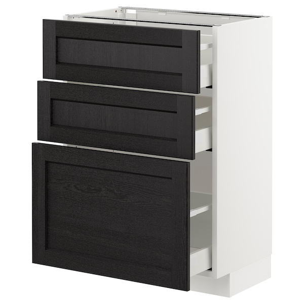METOD Base cabinet with 3 drawers, white/Lerhyttan black stained, 60x37 cm