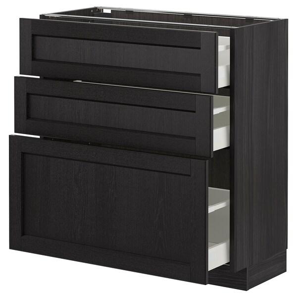 METOD base cabinet with 3 drawers black/Lerhyttan black stained 80.0 cm 39.5 cm 88.0 cm 37.0 cm 80.0 cm