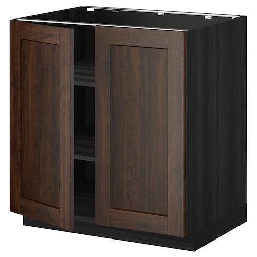 METOD base cabinet with shelves/2 doors black/Edserum brown 80.0 cm 61.8 cm 88.0 cm 60.0 cm 80.0 cm