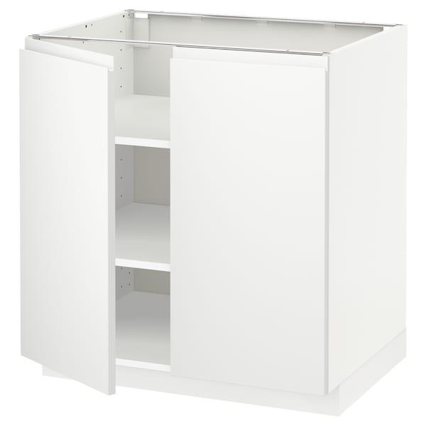 METOD خزانة قاعدة مع أرفف/بابين, أبيض/Voxtorp أبيض مطفي, 80x60 سم