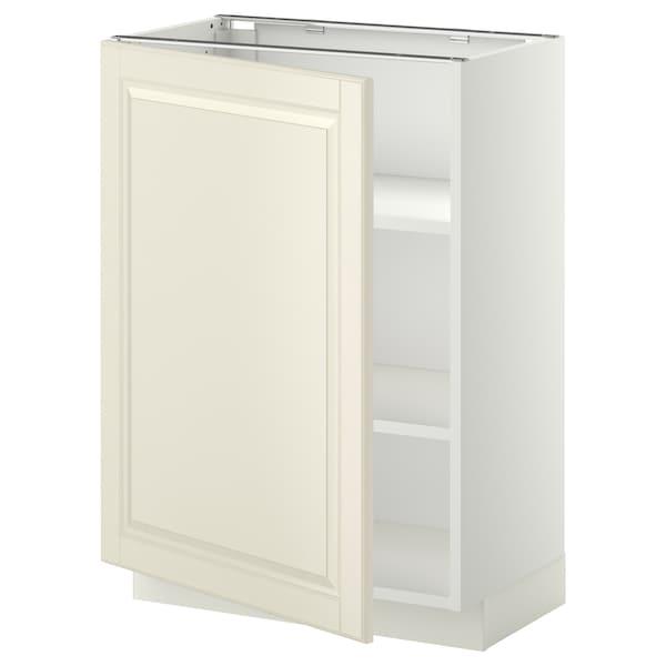 METOD خزانة قاعدة مع أرفف, أبيض/Bodbyn أبيض-عاجي, 60x37 سم