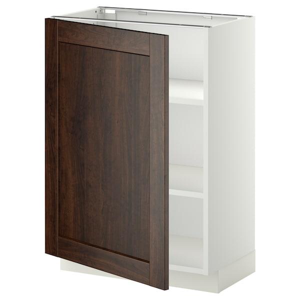 METOD خزانة قاعدة مع أرفف, أبيض/Edserum بني, 60x37 سم
