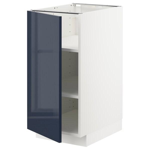 METOD Base cabinet with shelves, white/Järsta black-blue, 40x60 cm
