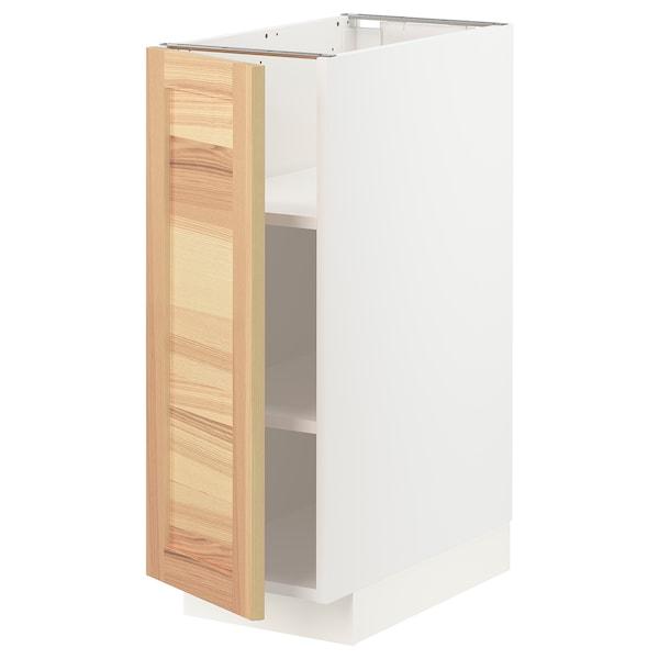 METOD خزانة قاعدة مع أرفف, أبيض/Torhamn رماد, 30x60 سم