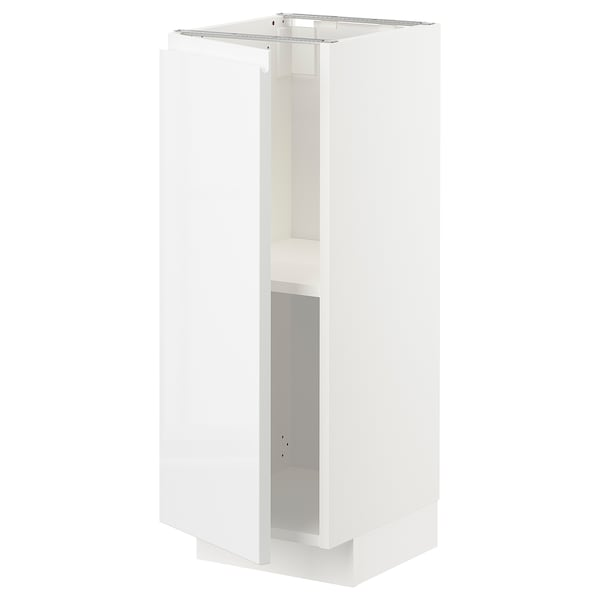 METOD Base cabinet with shelves, white/Voxtorp high-gloss/white, 30x37 cm