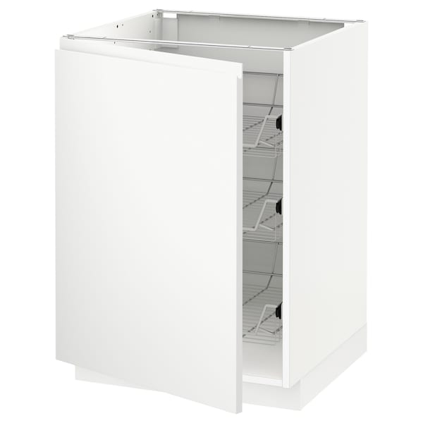 METOD Base cabinet with wire baskets, white/Voxtorp matt white, 60x60 cm