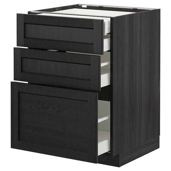 METOD Base cb 3 frnts/2 low/1 md/1 hi drw, black/Lerhyttan black stained, 60x60 cm