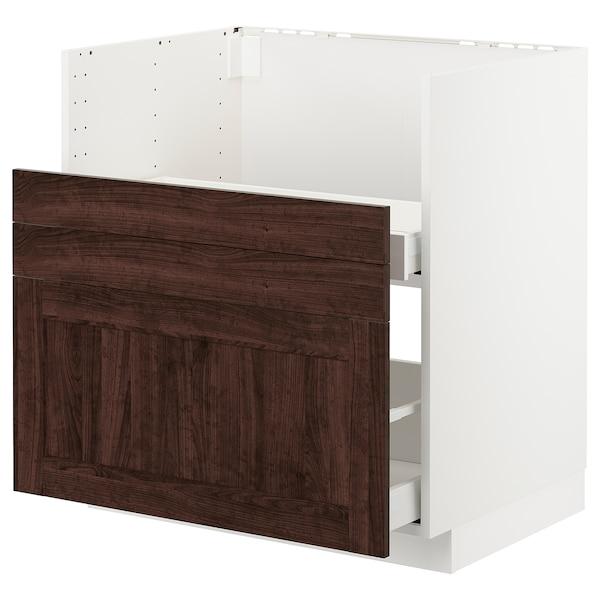 METOD قاعدة خزانة حوض غسيل BREDSJÖN, أبيض/Edserum بني, 80x60 سم