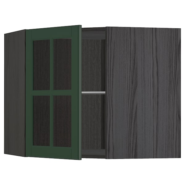 METOD Corner wall cab w shelves/glass dr, black/Bodbyn dark green, 68x60 cm