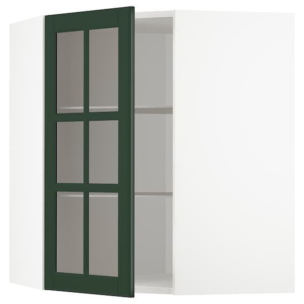 METOD Corner wall cab w shelves/glass dr, white/Bodbyn dark green, 68x80 cm