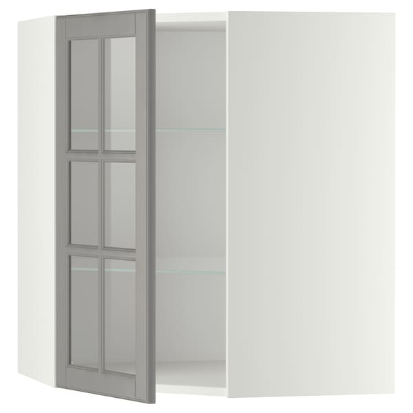 METOD Corner wall cab w shelves/glass dr, white/Bodbyn grey, 68x80 cm