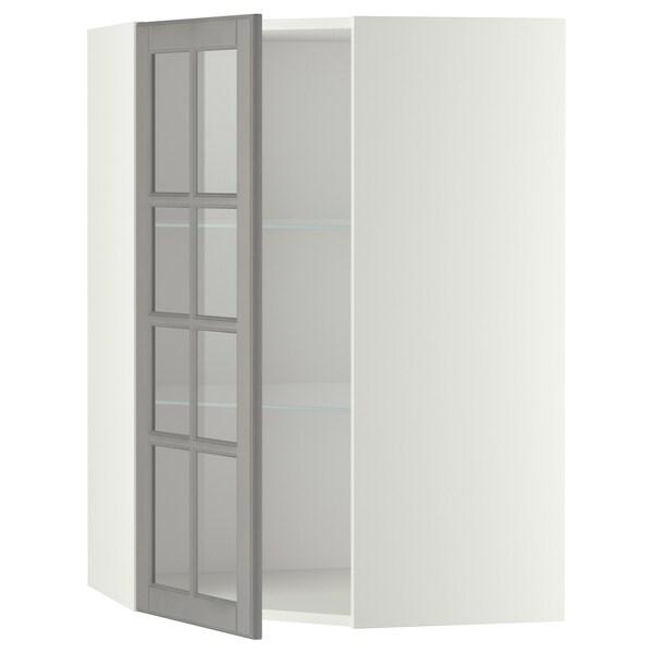 METOD Corner wall cab w shelves/glass dr, white/Bodbyn grey, 68x100 cm