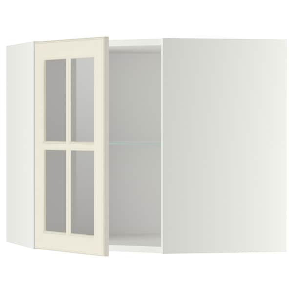 METOD Corner wall cab w shelves/glass dr, white/Bodbyn off-white, 68x60 cm